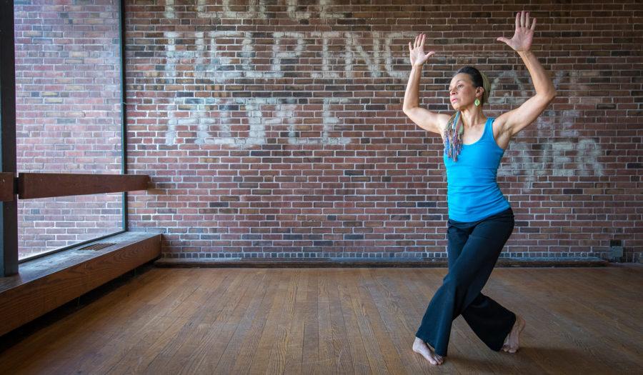 Student dancing in dance studio