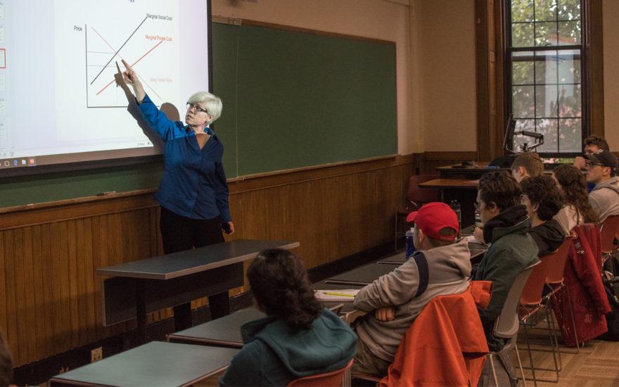 Prof. Jacqueline Geoghegan teaching in classroom