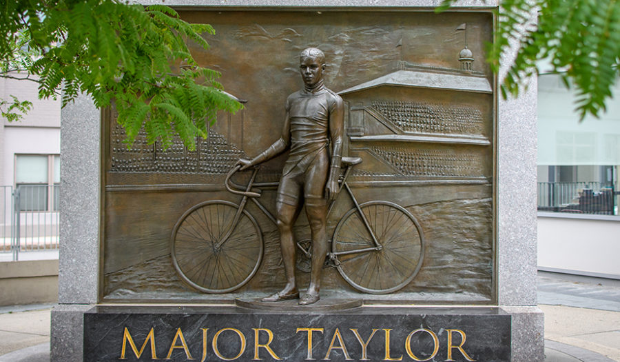 major taylor historical engraved stone statue