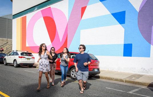 LOVE word art on brick wall