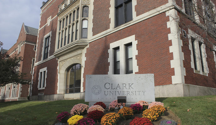 Clark university slate stone with fall flowers
