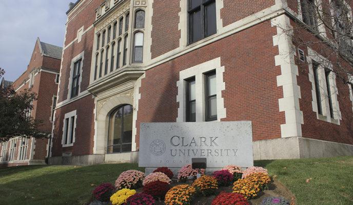 Clark university slate stone with fall flowers