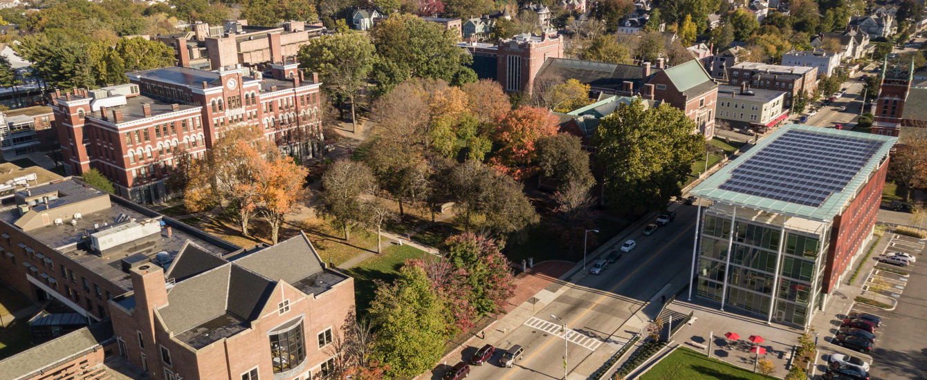aerial shot of clark in the fall