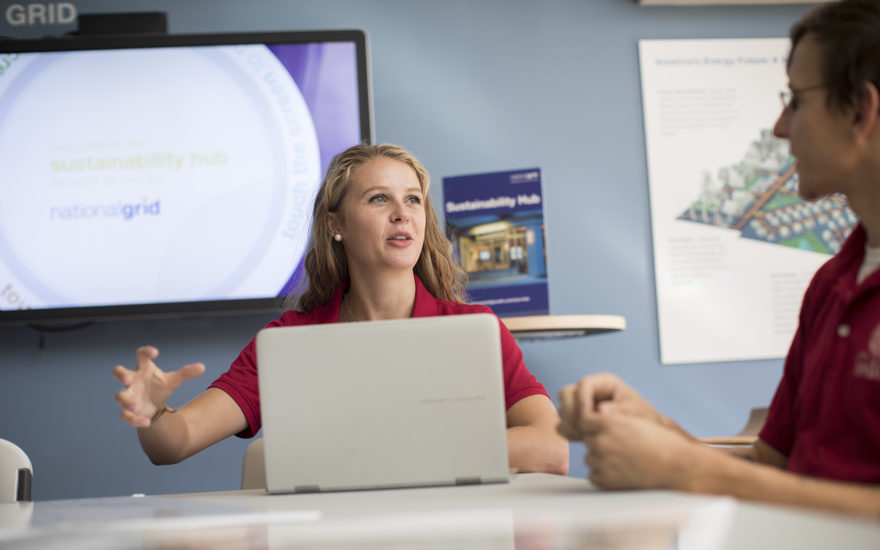 Female student looking at pc