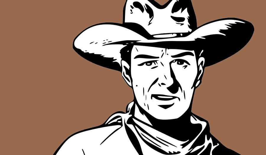 Drawing of cowboy with 10-gallon hat