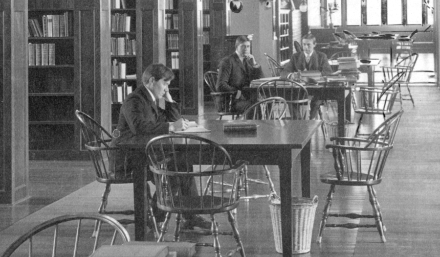 Young men studying in the library