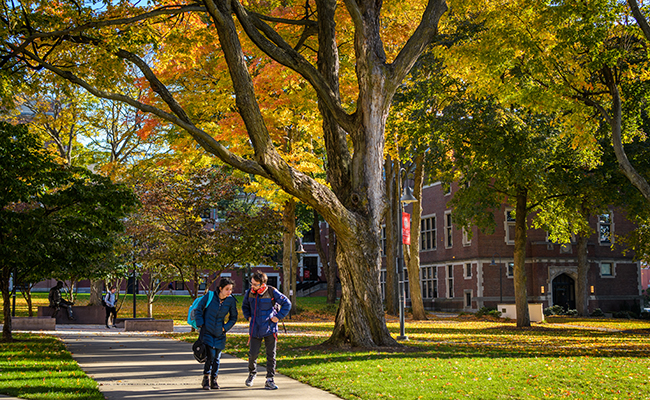 fall folliage with students walking down path