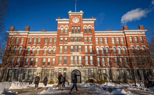 Jonas Clark building in the snow