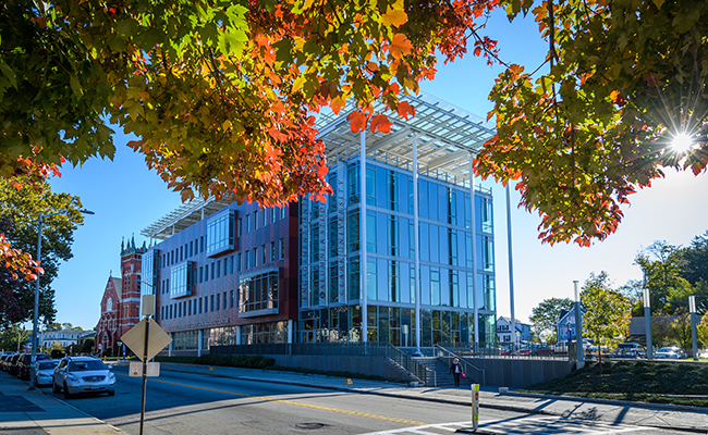 ASEC building with fall foliage