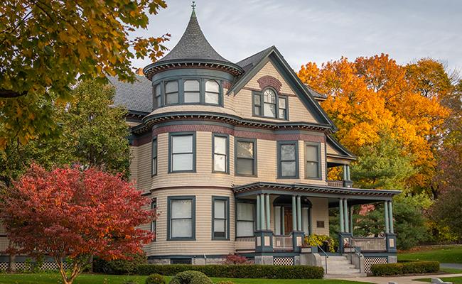Harrington House with fall foliage