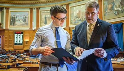 David Sullivan at State House with legislator