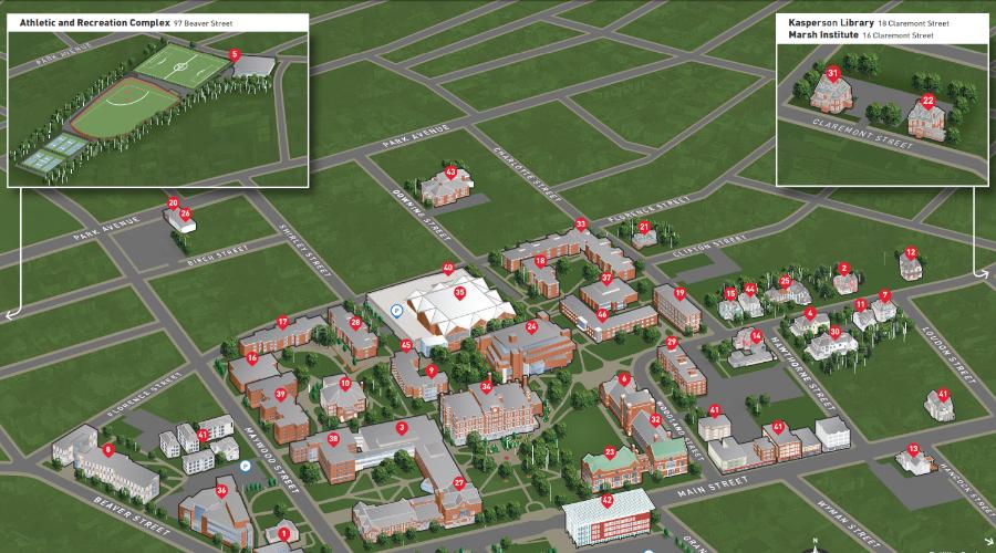 Clark University campus map
