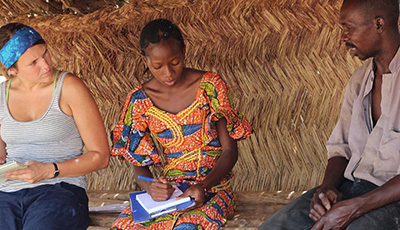 Students studying in Africa