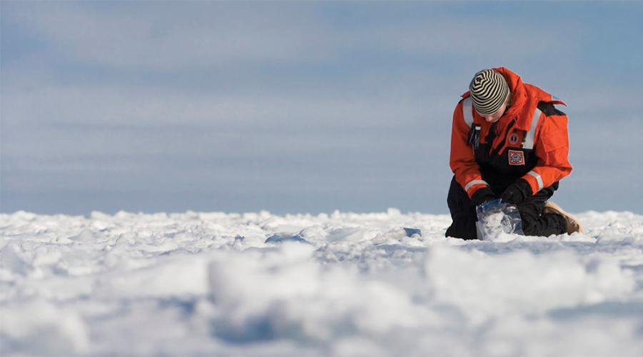 karen frey taking ice samples on ice berg