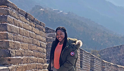 Student at Great Wall of China