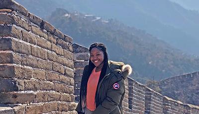 Student at Great Wall of China