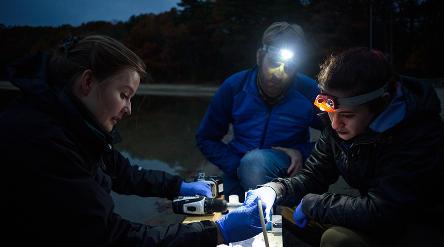 professor looking at water samples with students near walden pond