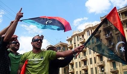 people protesting in Libya