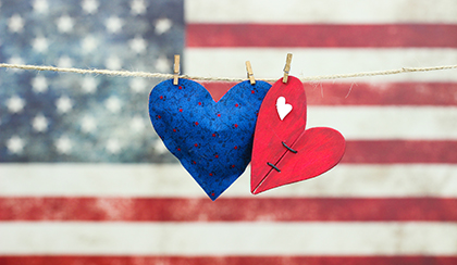 two hearts with American flag in the background