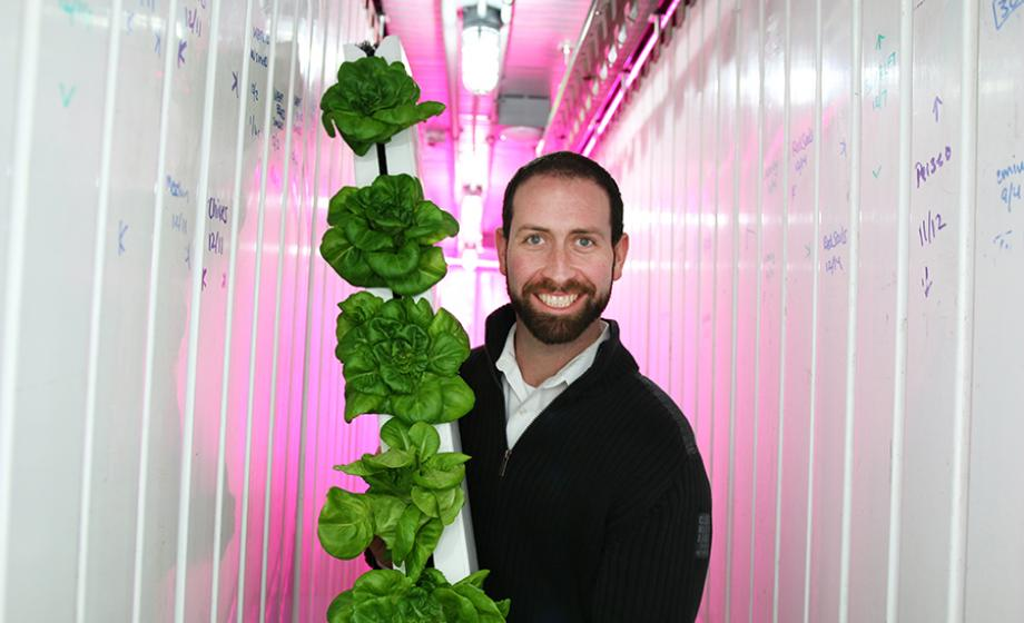 Brad McNamara displays a typical product of a Leafy Green Machine.