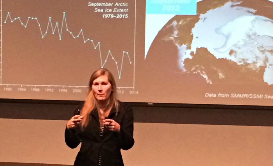 Clark University Professor of geography Karen Frey explains her research on Arctic sea ice and climate change at the Climate Change Teach-in, March 23, 2016.