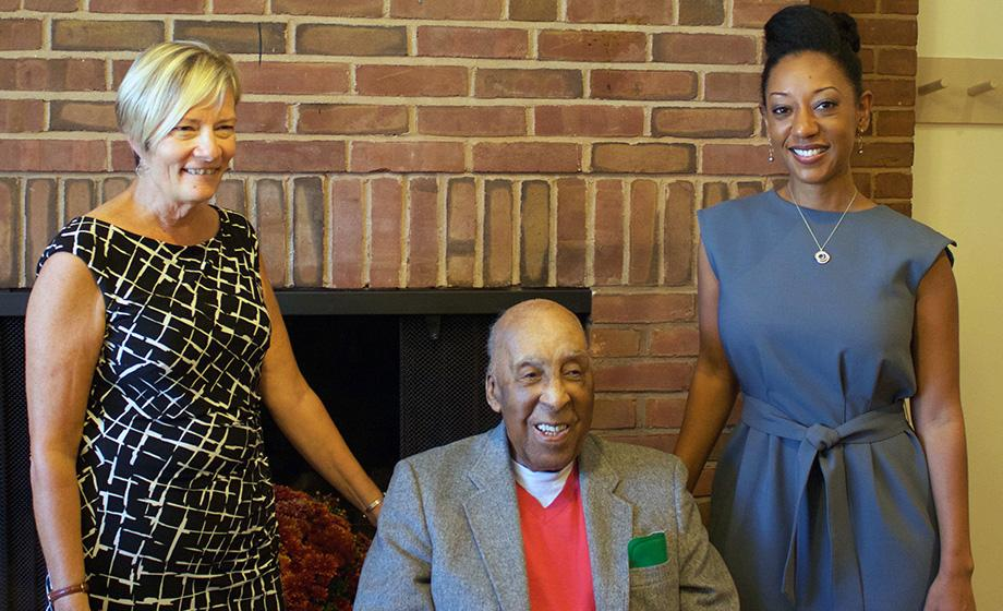 Prof. Janette Greenwood, Stanley Gutridge '45 and Prof. Esther Jones
