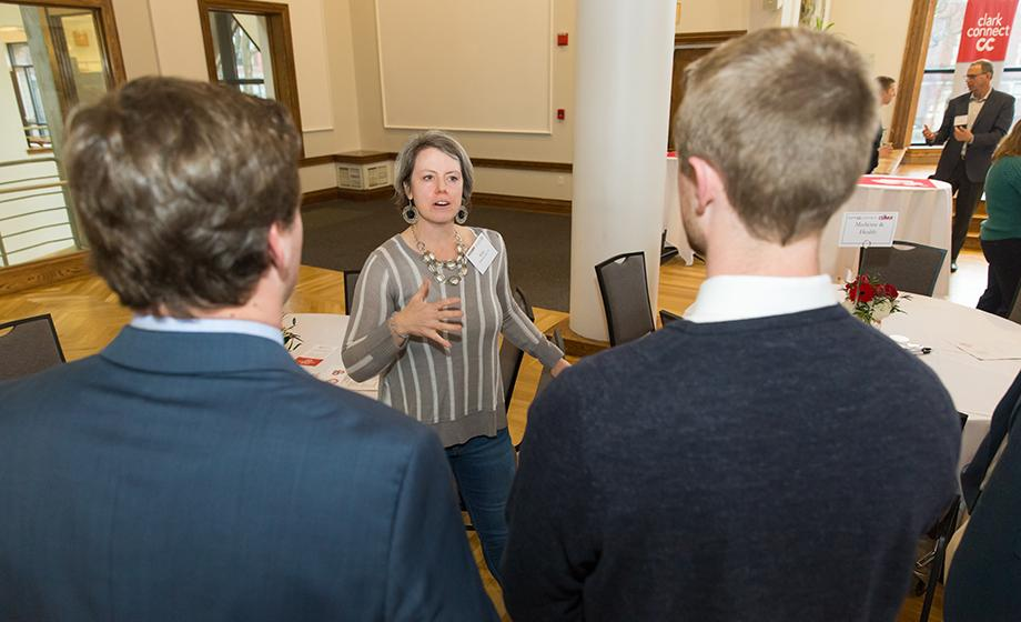 Pictured at top: Dr. Kate Kelly '93 speaks with current student-athletes. Photos by Len Sampson.