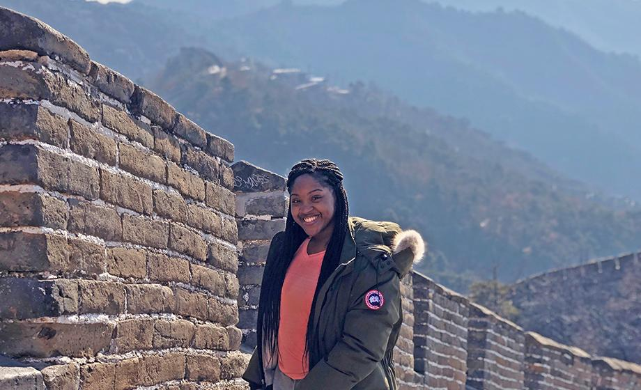 Tiana Golding standing on the great china wall
