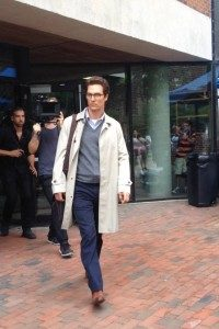 "Matthew McConaughey films ""The Sea of Trees"" outside of Arthur M. Sackler Sciences Center on Sept. 5."