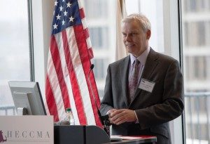 Clark University President David P. Angel, as Board Chair of the Higher Education Consortium of Central Massachusetts (HECCMA), speaks at the grand opening of new offices in downtown Worcester.