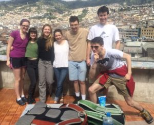 Members of Clark's GSE in Ecuador. (From left to right) Sarah Maloney '17, Cailley Culotta '16, Rebekah Vineyard '17, Celine Miranda '17, Zac Peloquin '16, Sam Most '18, and John Kaplan '17. MIssing from photo is doctoral candidate Rich King.