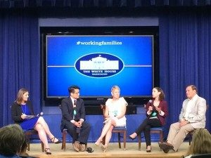"""Participants in the White House """"Working Fathers"""" panel included Brigid Schulte of the Washington Post, author of """"Overwhelmed""""; Kipp Jarecke-Cheng, a working father; Kathy Edin, a sociologist at Harvard & Johns Hopkins universities; Clark Professor Abbie Goldberg; and Kyle Pruett, a Yale University psychiatrist."""