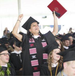A Clark graduate celebrates.