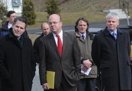 At a March 2011 press conference on Kilby Street: From left, then Worcester City Manager Michael O'Brien, Congressman James McGovern, Stephen Teasdale, Executive Director of the Main South CDC, and Clark University President David Angel. (Clark File Photo)