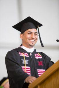 Class of 2015 senior speaker Miguel Lara