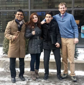 Award Winners at the McGill Model U.N. Conference, January 2014, from left: Dulwara de Alwis '14, Dea Dodi '17, Doga Bilgin '17, and Jake Kailey '14