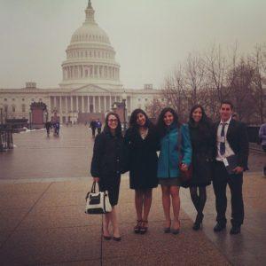 From left, Clark University students Danielle Strandson, Radhika Sharma, Eliana Hadjiandreou, Mariana Lopez-Davila, and Oscar Zapata in Washington, D.C.