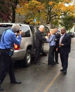 President Clinton and Mass. Attorney General Martha Coakley talk outside Atwood Hall.