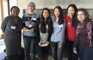 Pictured from left to right: Josephine Munene '15 MBA, Nan Zhao '18, Joshan Niroula '17, Yanlin Wang '16, Qilin Jiang '16, and Monica Marrone '16 worked together as a team during the LEEP Civic Challenge.