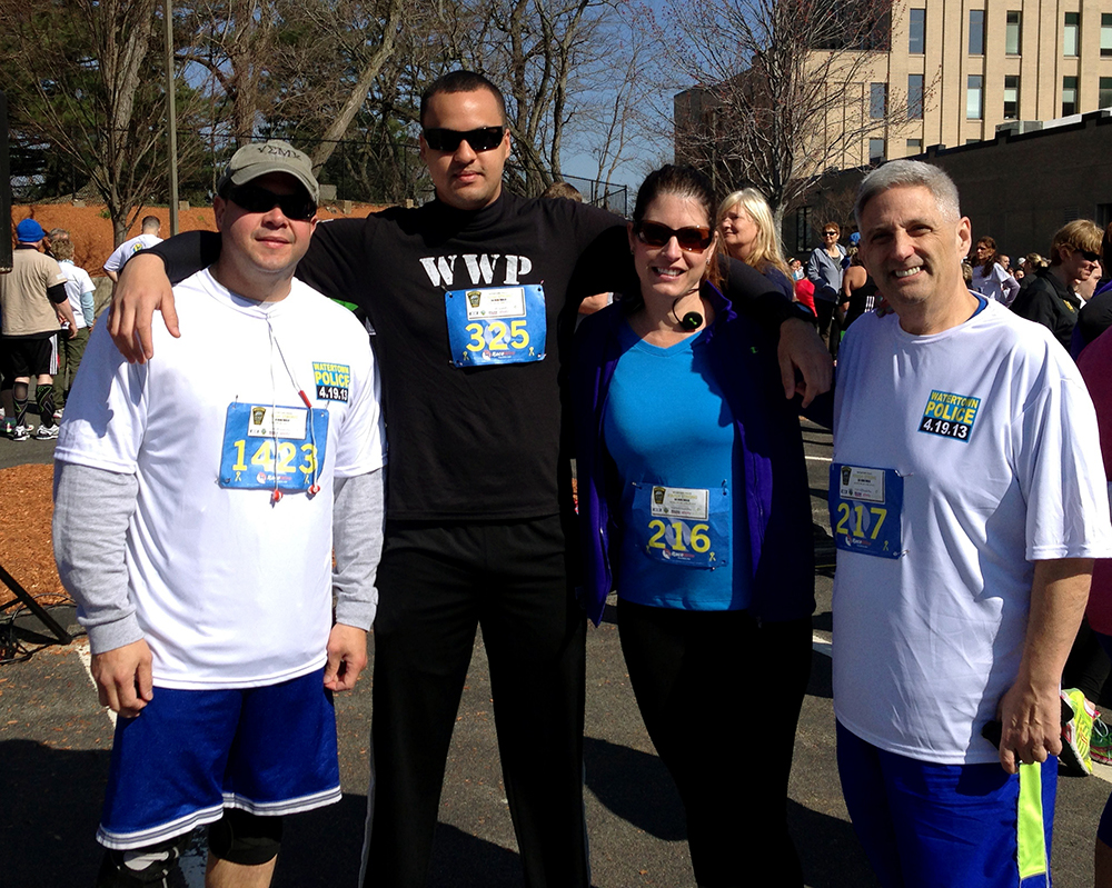 From left: Officer Efrain Diaz, Officer Francis Torres, University Police Office Manager Melissa Tula and Chief Stephen Goulet took part in the April 19 Finish Strong 5K.