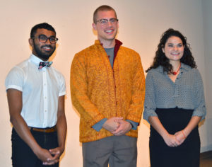 Top prizes in the Hervey Ross '50, L.H.D. '07 LEEP Oratorical Contest went to (left to right) Themal Ellawala '17, third place; Jules Ochoa '16, second place; and Gabby Seligman '16, first place.