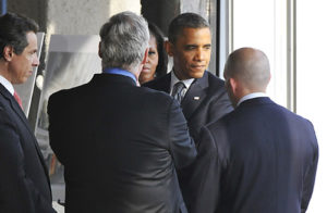 Rechler (far right) with President Obama and the First Lady at Tower One.
