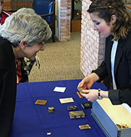 Dean of Research Nancy Budwig, left, and Anne Marie Goguen '15