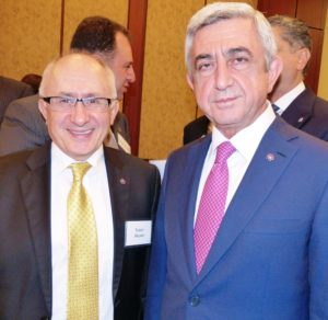 Clark University Professor Taner Akçam, Kaloosdian/Mugar Chair in Holocaust and Genocide Studies, meets with Republic of Armenia President Serzh Sargsyan, at a reception sponsored by the International Raoul Wallenberg Foundation