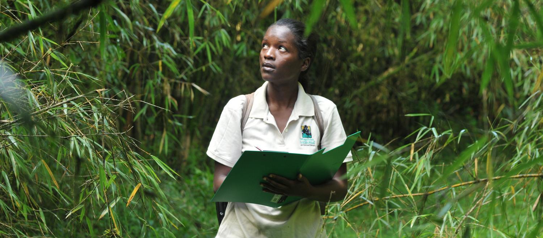 Bernadette Arakwiye, Clark University, doing field work in Rwanda