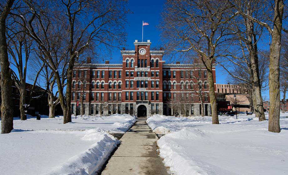 snow scene of jonas clark building
