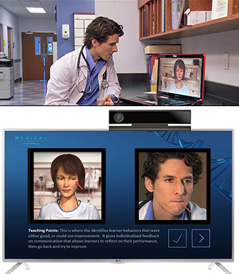A doctor uses the MPathic-VR system to practice giving bad news to a patient.