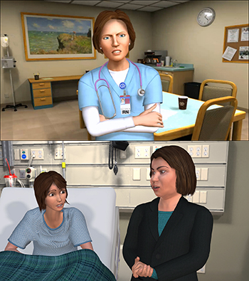 MPathic-VR scenarios featuring Nicole, an oncology nurse (top) and leukemia patient Robin and her mother, Delmy