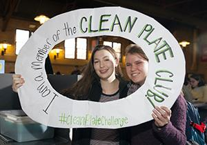 Students pose for a photo during the Clean Plate Challenge.