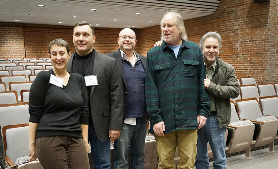 "From left, Daniela Barbosa '00, Professor Gino DiIorio '83, Dan Zisson '95, Professor Raymond Munro and Professor Steve DiRado at last week's screening of ""Home."""